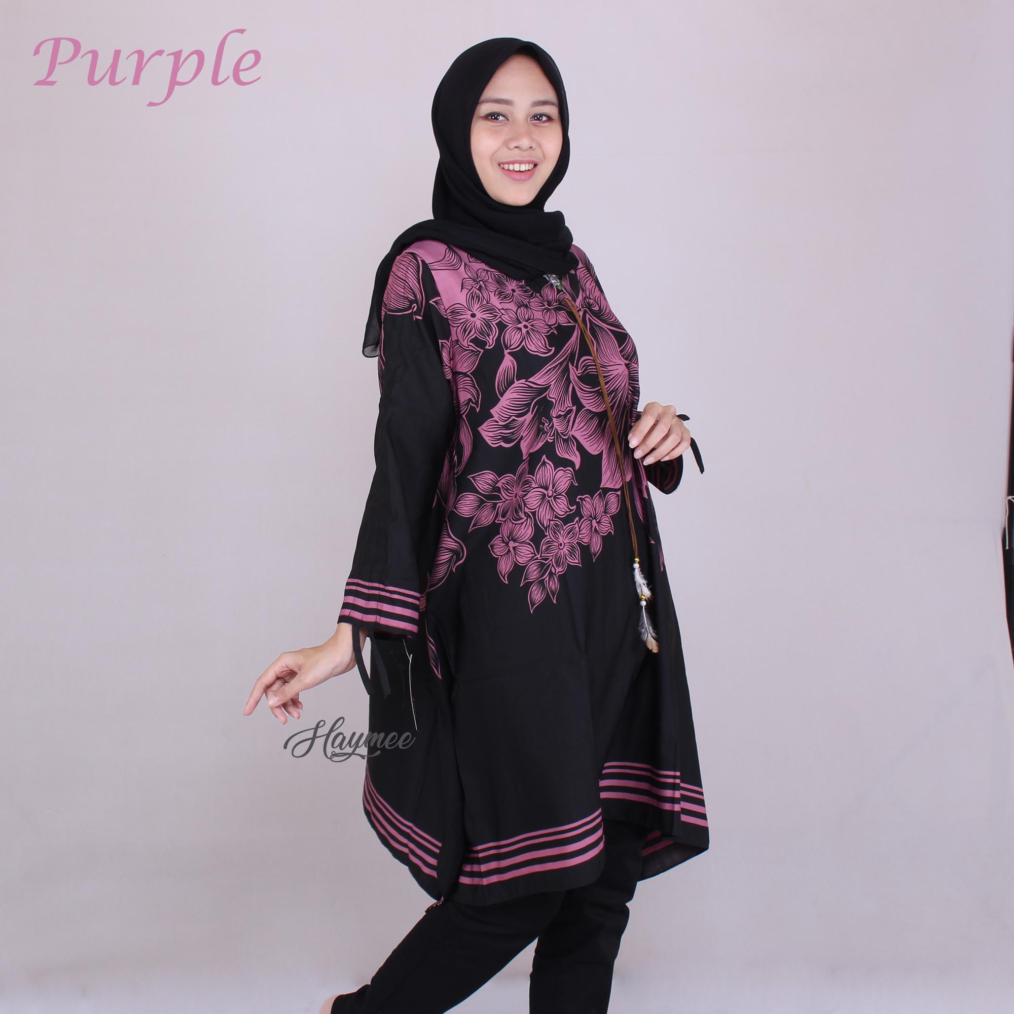 HaymeeStore Flowers Tunik Wanita Blouse Tunik Flower Cewek Atasan Muslimah Wanita Motif Bunga Printing Baju Jumbo