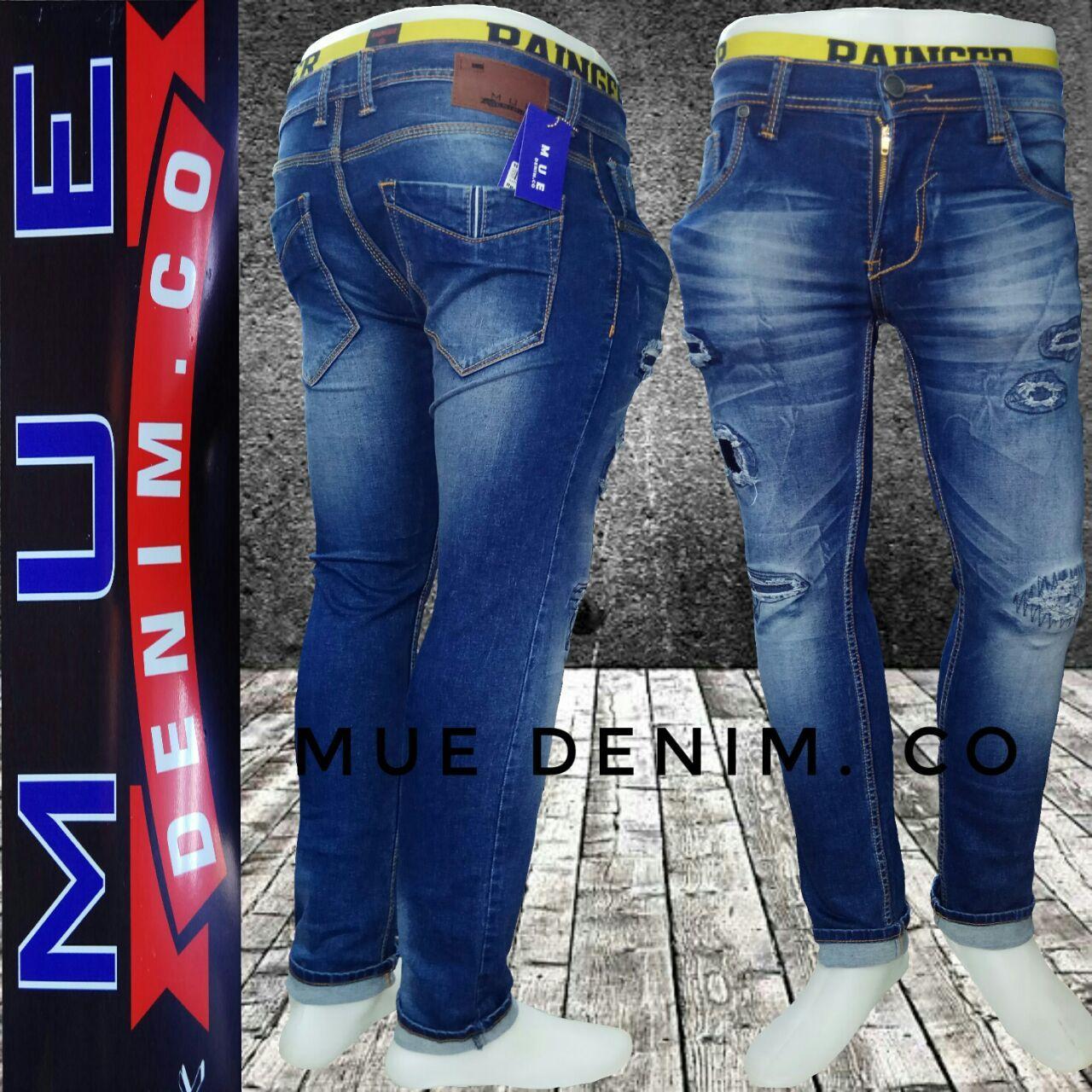 Mue Denimco Celana Panjang Pria Model Sobek Bahan Soft Jeans Street Co Streets Pants Terbaru