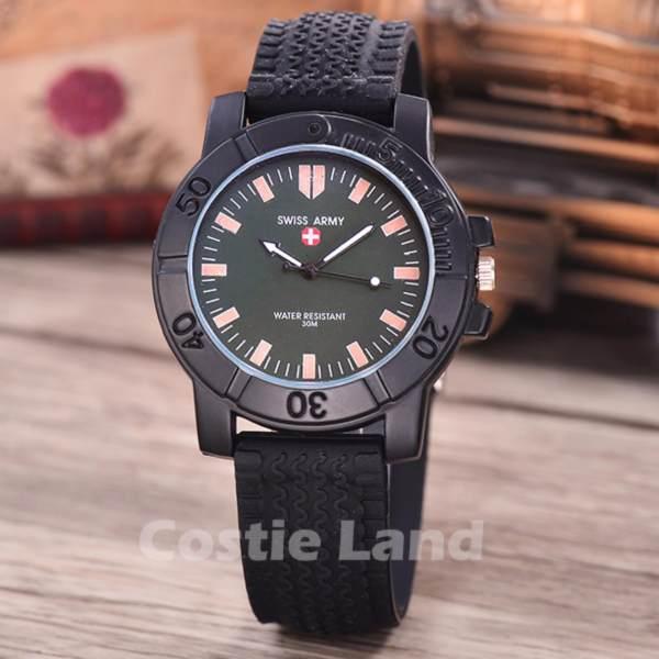 Swiss Army - Jam Tangan Pria - Body Black - Green Dial - Black Rubber -