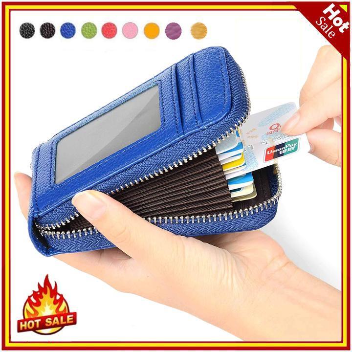 RFID Blocking Genuine Leather Tempat Kartu Kredit Pemegang Keamanan Dompet Berpergian Depan Saku Dompet untuk Pria dan Wanita
