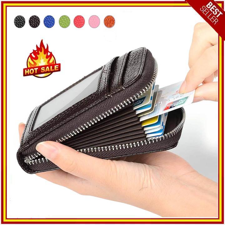 RFID Blocking Genuine Leather Tempat Kartu Kredit Pemegang Keamanan Dompet Berpergian Depan Saku Dompet untuk Pria