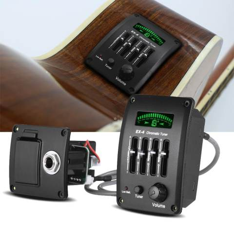 Acoustic Guitar 4-Band EQ Equalizer Tone and Volume Amplifier Preamp Piezo Pickup with Chromatic