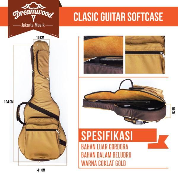 Dreamwood Semi Gigbag / Tas Gitar Klasik Akustik Dalaman Bludru - Coklat Gold