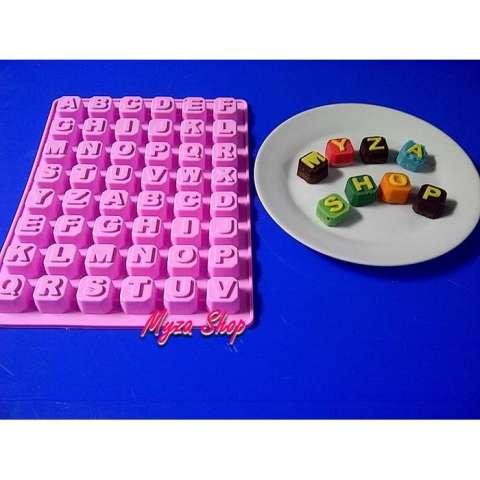 Cetakan Coklat Silikon/ Silicone Mold Huruf Blok/ Kubus/ Font/Alphabet - C9da76