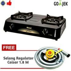 Paket Kompor Rinnai RI-302S Kompor Gas 2 Tungku +Selang Regulator Caisar Sni