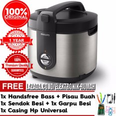 Philips Viva Collection Magic Jar Rice Cooker HD3128/33 Premium Hitam + Silver Gratis Pisau Buah + Handsfree Bass + Casing HP Universal + 1set Sendok Besi dan Garpu Besi
