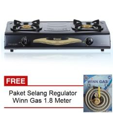 Rinnai Kompor Gas 2 Tungku Rl-522C + Free Selang Regulator Win Gas 1.8 M
