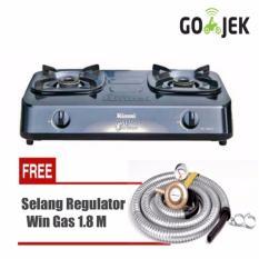 Rinnai RI-302S Kompor Gas 2Tungku + Win Gas Selang Regulator Meter