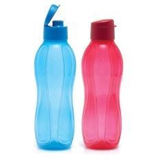 Tupperware Eco Bottle 1L (2) - Tutup Flip Top - Warna Merah Biru - Satu Paket Isi Dua