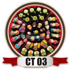 bestseller coklat lebaran aneka karakter ( muslim, muslimah, masjid, bedug, ketupat ) untuk sajian lebaran merk cokelat pelangi kemasan candytray CT03