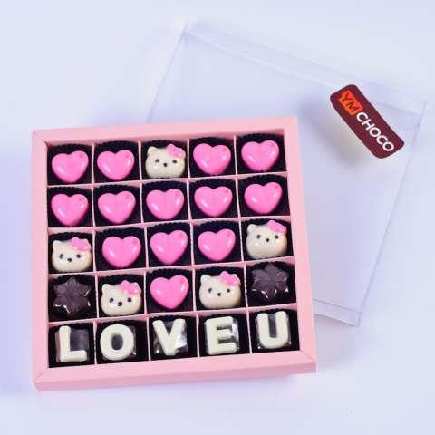 Coklat Huruf Love U Pink Hellokity Skat 25