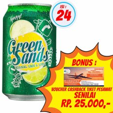 Green Sands - Original : Lime & Apple - 330ml / 1 Karton isi 24 @ 330ml + BONUS Voucher Cashback TIket Pesawat Senilai Rp. 25.000,-