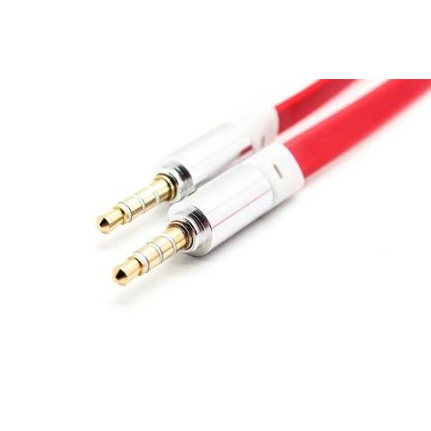 Best CT 2 meter 4 pin 3.5mm Male to Male Flat Audio Cable Merah