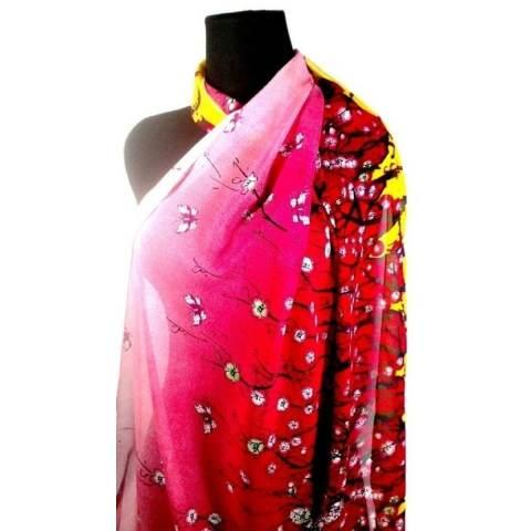 Aura Merva Pashmina Chiffon Motif Bunga Sakura Gradasi Merah Kuning
