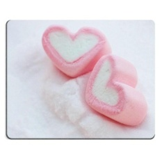 17P00039 High-quality creativity Mousepad Gaming Mouse Pad pair of pink heart shape marshmallows on snow 300*250*3 mm