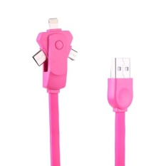 1 M 2 A 3 In 1 Rotasi 8 Pin + Tipe-C + Mikro USB To USB TPE Data Sinkronisasi Pengisian Kabel For I Phone And dan TvOS And Samsung And HTC And LG And SONY And Huawei And Xiaomi And Meizu And OPPO (Magenta)
