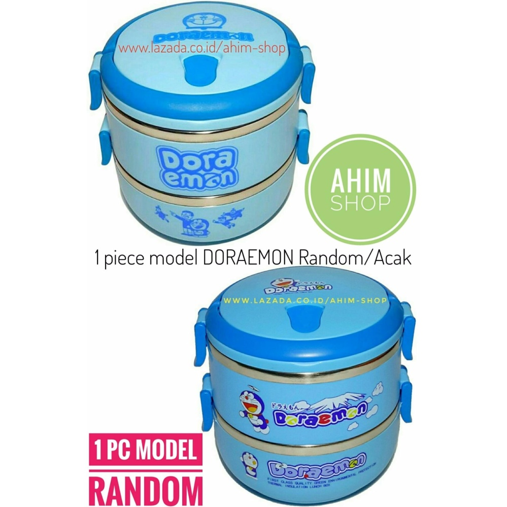 1pc Rantang 2 Susun 1400 ml Lunch Box Stainless Steel Model DORAEMON Random – Tempat Makanan