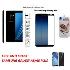 3D CANDY ORIGINAL FULL  COVER TEMPERED GLASS PROTECTOR  FILM 0,26 M 9H HARDNESS GLASS PREMIUM 3D FOR SAMSUNG GALAXY A8 PLUS  2018  ( JAPAN MATERIAL GLASS) - BLACK   FREE ANTI CRACK