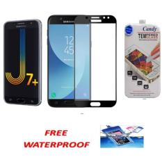 3D CANDY ORIGINAL FULL  COVER TEMPERED GLASS PROTECTOR  FILM 0,26 M 9H HARDNESS GLASS PREMIUM 3D FOR SAMSUNG GALAXY J7 PLUS ( JAPAN MATERIAL GLASS) - BLACK FREE WATERPROOF