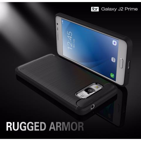 Accessories HP Premium Quality Carbon Shockproof Hybrid Case for Samsung Galaxy J2 Prime - Black 2