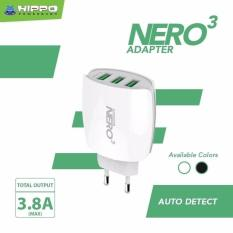 Adapter Charger Hippo Nero 3 Ports USB 3.8A Value Pack - Fast Charging Travel