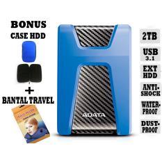 Adata External Hdd 2Tb Usb 3.1 Adata HD650 Antishock / Waterproof / Dustproof / Ext HDD Adata 650 / Hardisk External - Biru + Gratis Case Hdd + Bantal Travel