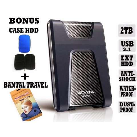 Adata External Hdd 2Tb Usb 3.1 Adata HD650 Antishock / Waterproof / Dustproof / Ext HDD Adata 650 / Hardisk External - Hitam + Gratis Case Hdd + Bantal Travel 1