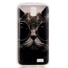 Menggemaskan Cat Mengenakan Kacamata Pola Lembut IMD TPU Shell Case untuk Lenovo A328 (Multicolor)