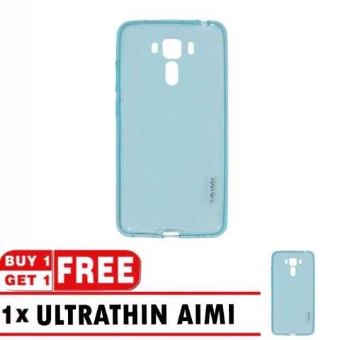 AIMI Ultrathin Asus Zenfone 3 Laser ZC551KL / Softcase Zenfone 3 Laser / Soft case / Casing Silicone / Case Zenfone + FREE BUY 1 GET 1 - Biru Transparant