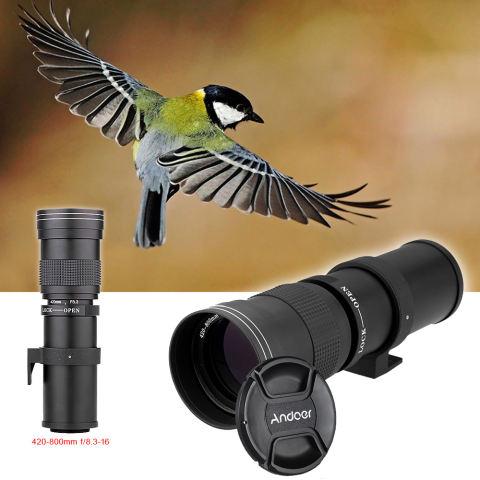 Andoer 420-800mm F/8.3-16 HD Super Telephoto Manual Zoom Lens dengan T-mount untuk Canon Nikon Minolta Sony Pentax Olympus DSLR Kamera-Internasional 4