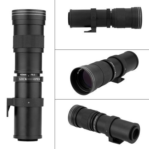 Andoer 420-800mm F/8.3-16 HD Super Telephoto Manual Zoom Lens dengan T-mount untuk Canon Nikon Minolta Sony Pentax Olympus DSLR Kamera-Internasional 1
