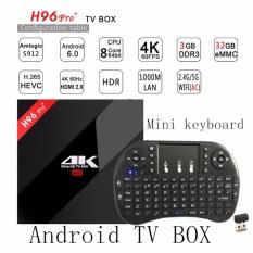 Android 7.1 Octa Core 3g/32g H96 PRO + 4 K Amlogic S912 64bit Smart TV BOX dengan I8 Mini 2.4 GHz Wireless Keyboard Air Mouse-Intl