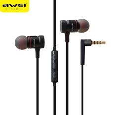 Awei ES-70TY Super Bass In-ear Headphone Mic Volume Control Earphone BK - intl