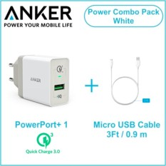 B2013L21 - PowerPort+ 1 with QC White 3ft micro USB Cable White