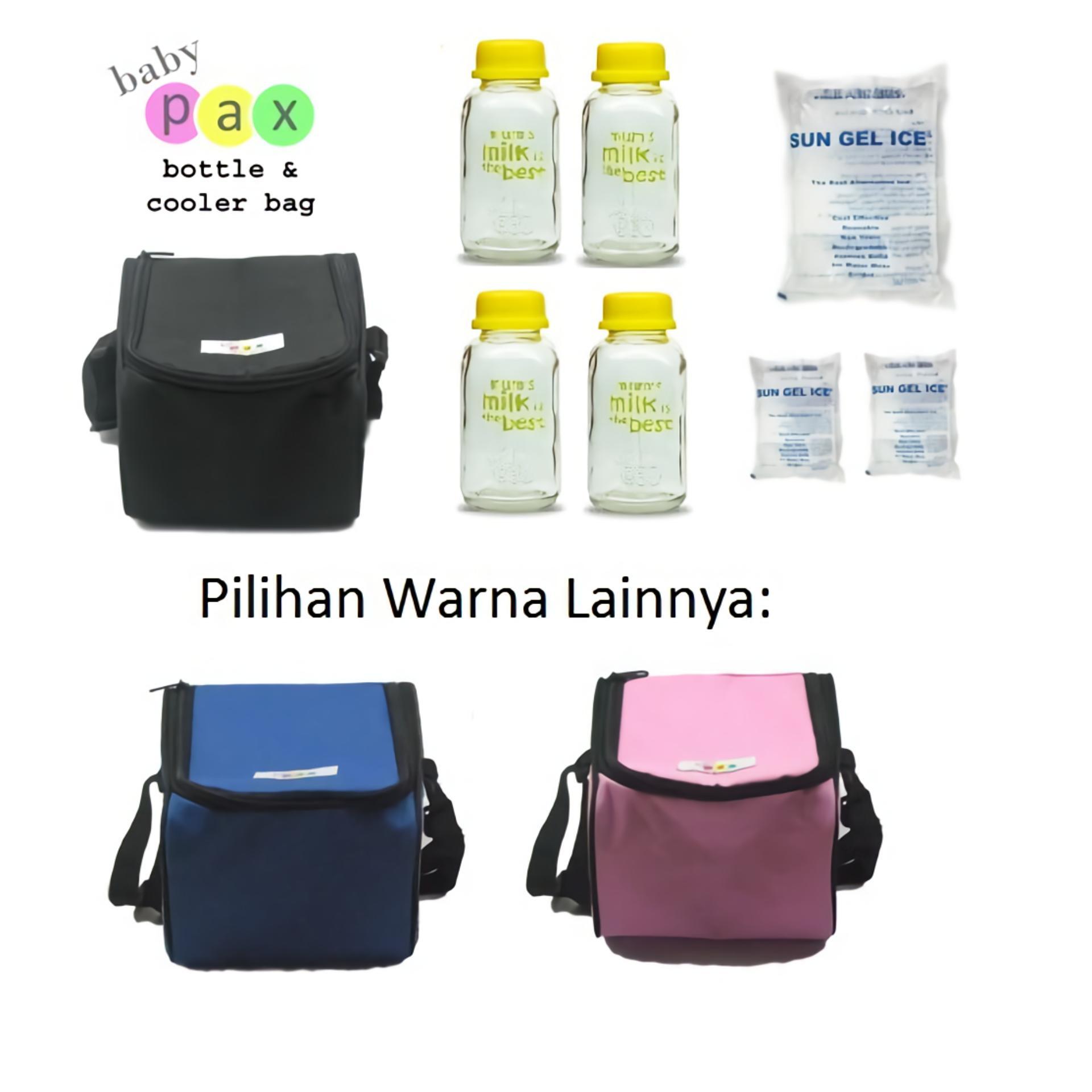 Baby Pax - Cooler Bag Set (Tas Penyimpan ASI + 4 Botol Kaca ASI + 3 Ice Gel)