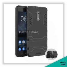 Back Case Microsoft Nokia Lumia 6 5.5 inch Iron Man Slim Armor With Kick Stand Series - Black