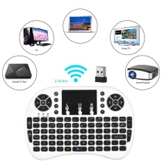 Backlit 2.4 GHz Wireless Keyboard Air Mouse Touchpad Handheld Remote Control Backlight untuk Android TV BOX PC Smart TV Putih -Intl