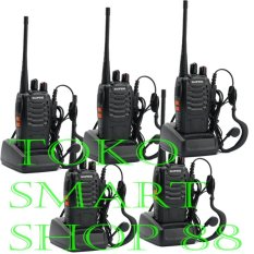 Baofeng Walkie Talkie 5 Pcs Radio HT 16CH BF-888S Senter LED + Headset Free Komunikasi UHF 16 Channel Memory Clear Audio Handy Talkie Praktis Handal