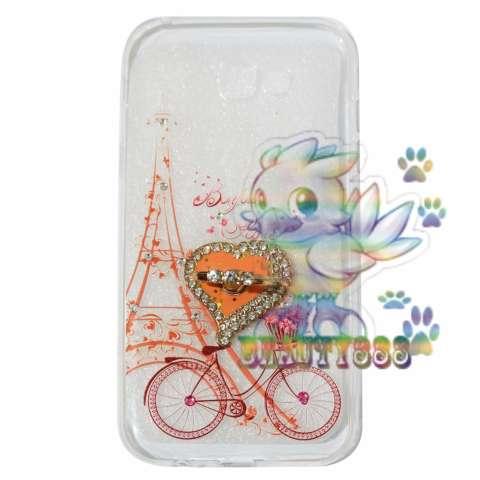 Beauty Case Samsung Galaxy A3 (2017) A320 Softshell Swarovski Animasi Vintage Bicycle Love +