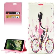 Bersepeda Girl Pola Berlian Bertatahkan Case Kulit Horisontal Flip dengan Pemegang dan Slot Kartu dan Dompet untuk Microsoft Lumia 850 -Intl