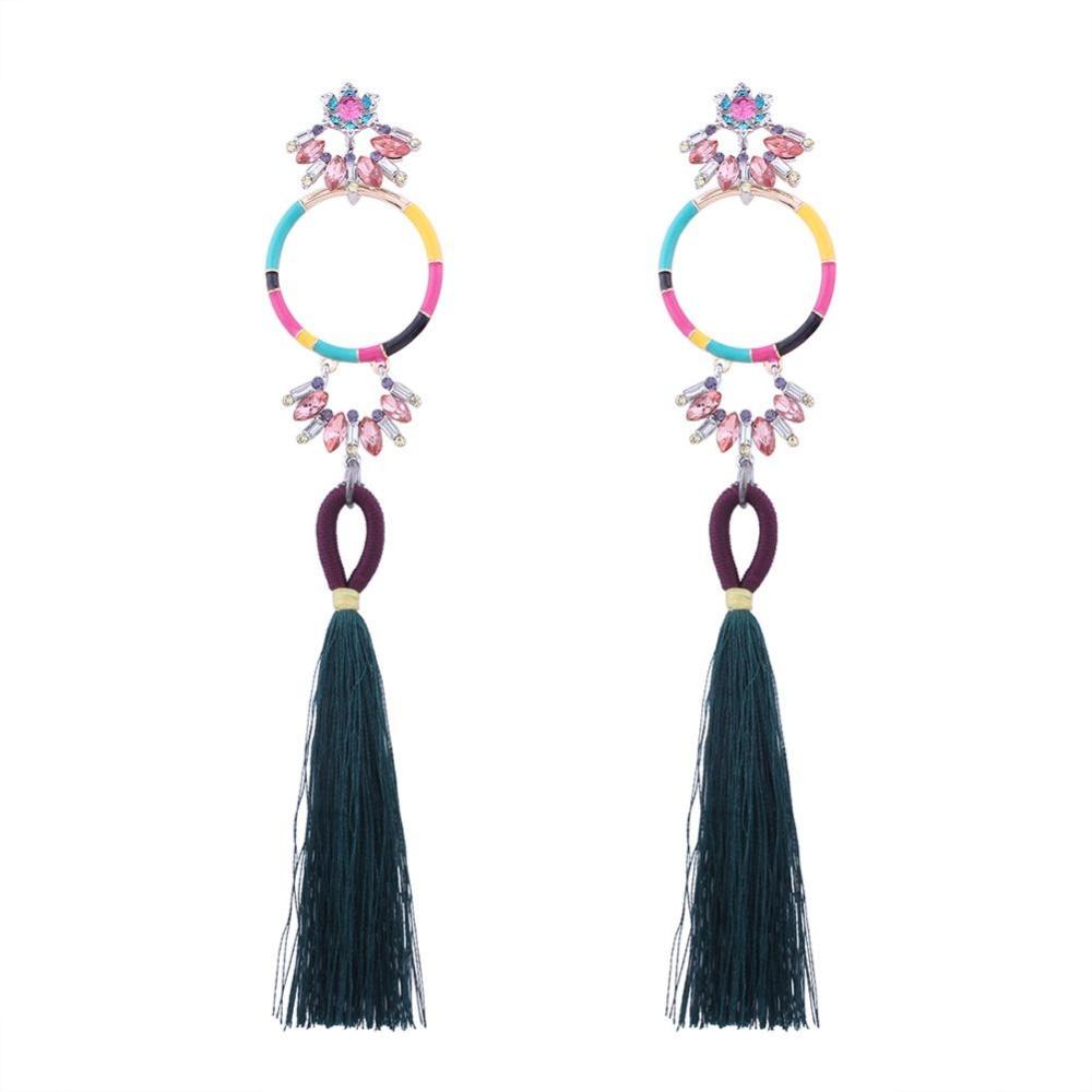 Bohemia Rumbai Warna-warni Earrings Crystal Rhinestone Long Dangle Earrings Wanita Fashion Perhiasan Warna: