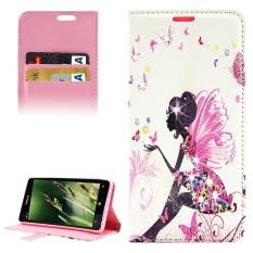 Butterfly Fairy Pola Berlian Bertatahkan Case Kulit Horisontal Flip dengan Pemegang dan Slot Kartu dan Dompet untuk Microsoft Lumia 850 -Intl