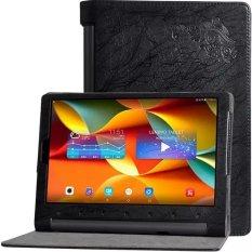 BYT Debossed Bunga Kulit Case For Lenovo YOGA Tab 3 Pro 10.1 Inci YT-X90F/M/L (HITAM)