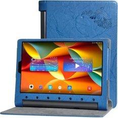 BYT Bunga Debossed Leather Case untuk Lenovo YOGA Tab 3 Pro 10 10.1 Inch Yt-x90f/M/L (biru)