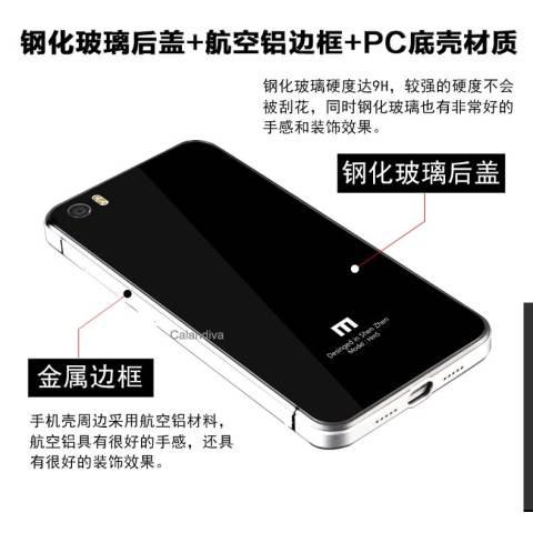 Calandiva Backcase Tempered Case for Xiaomi Mi5 Mi5 Pro Sama ukuran Hitam .