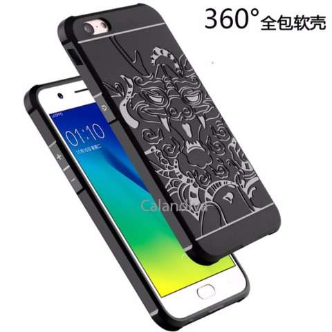 Home; Calandiva Dragon Shockproof Hybrid Case for Oppo A57 - Hitam + Rounded Tempered Glass