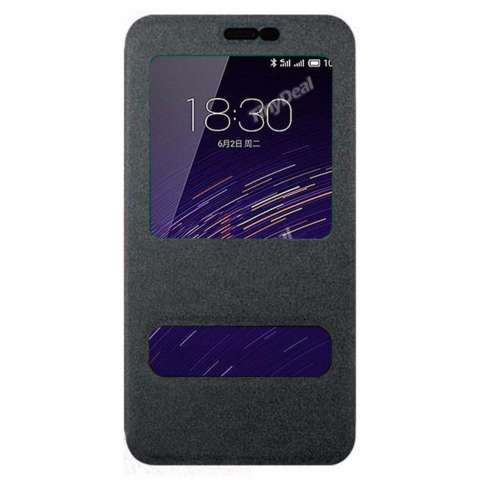 Calandiva Meizu M2 Note Flip Cover Double View Sparkle Series - Hitam