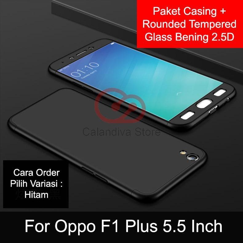 Calandiva Premium Front Back 360 Degree Full Protection Case Quality Grade A for Oppo F1 Plus,  R9 ( sama ukuran ) – Black + Tempered Glass 2.5D Bening