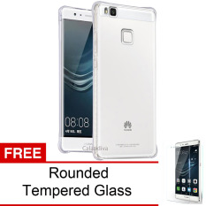 Calandiva Shockproof TPU Ultrathin Case untuk Huawei P9 Lite / G9 Lite - Clear + Rounded Tempered Glass
