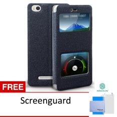 Calandiva Xiaomi MI4i /MI4c Flip Cover Double View Sparkle Series - Hitam + Gratis Screenguard Nillkin Original